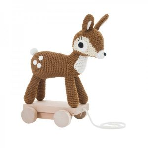 Pip and Sox Sebra Crochet Deer on Wheels - SMALL Pip and Sox