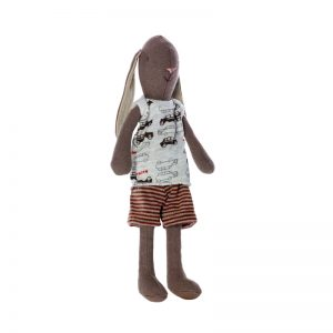 Maileg Bunny Boy is a sweet brown rabbit with long floppy ears and a sweet face. He's dressed for play in shorts and a printed t-shirt. From beloved Scandinavian brand Maileg