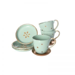 Maileg Dolls Tea Set features a set of three cups and saucers perfect for dolls and soft toys