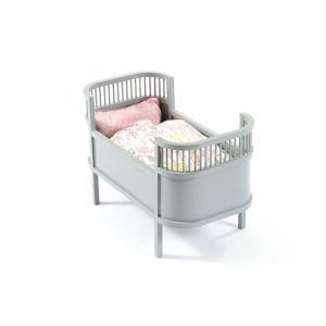 Smallstuff Rosaline Doll's Cot - Grey - Pip and Sox