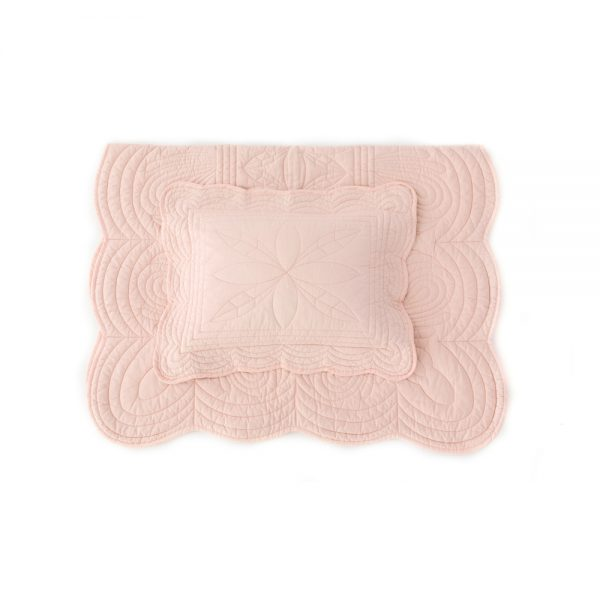 Bonne Mere Cot Quilt and Pillow Set - Shell Pink