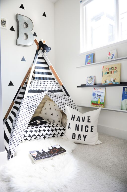 Reading nook for kids - monochrome bedroom