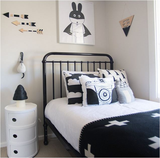 Boys bedroom inspiration with a monochrome theme room