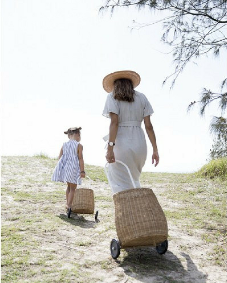 Olli Ella baskets are a great kids picnic ideas as kids can carry their own toys and cushions