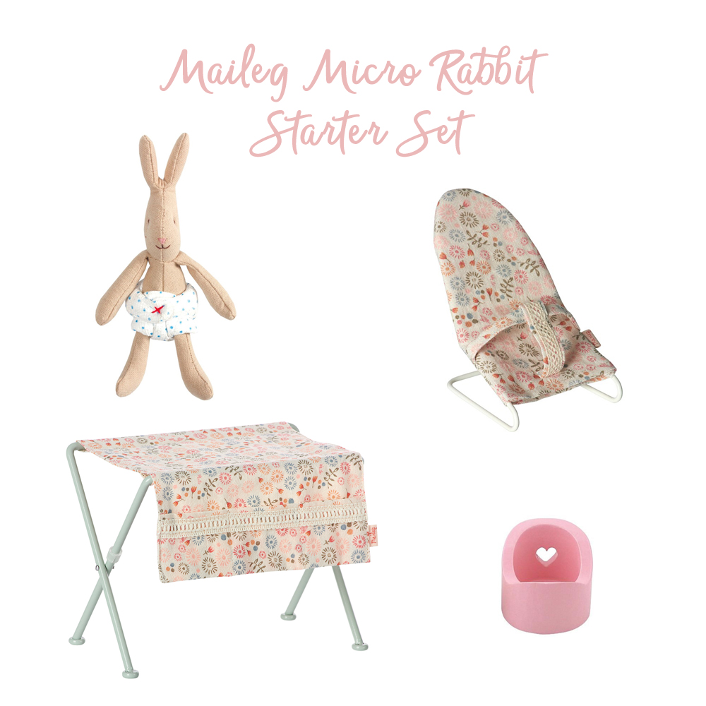 The Maileg Micro Rabbit Starter Set from Pip and Sox includes a sweet bunny and nursery accessories.