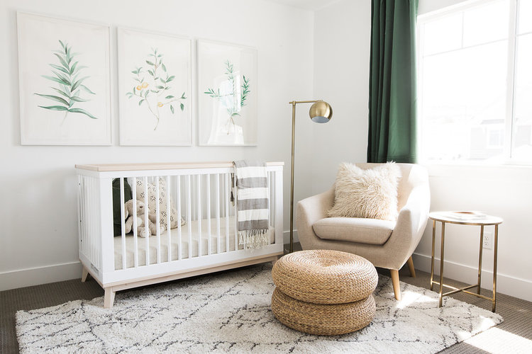 Gender Neutral Nursery Ideas - Green and Gold