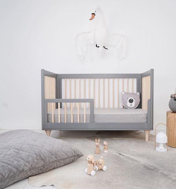 Kids bedroom trends for 2018 include velvet finishes like in this soft grey children's nursery