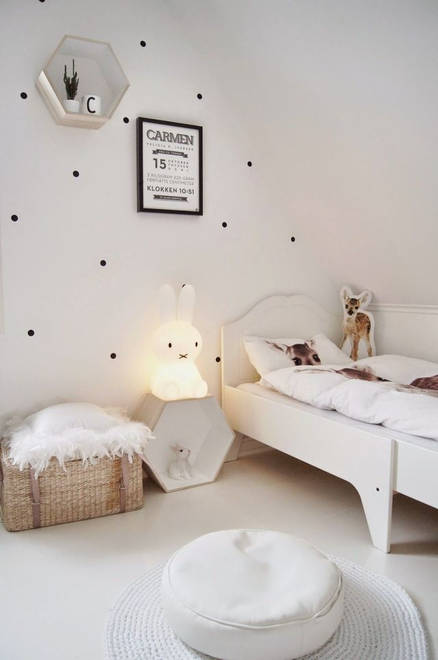 Monochrome girls bedroom with spots on wall - Pip and Sox