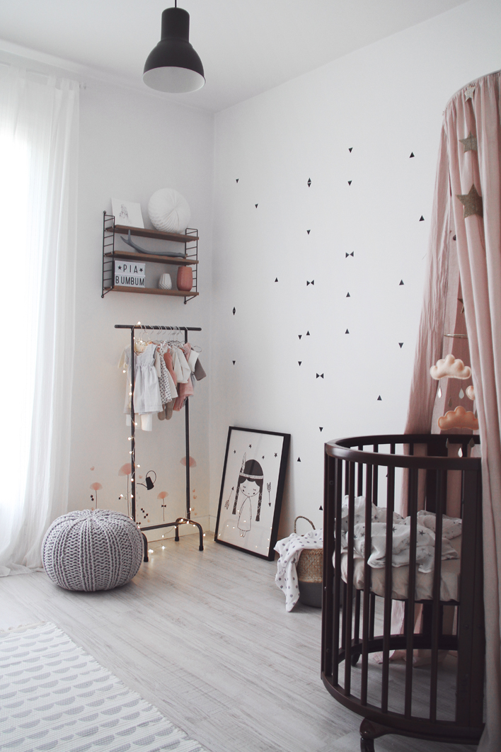 Monochrome girls bedroom with touches of pink - Pip and Sox